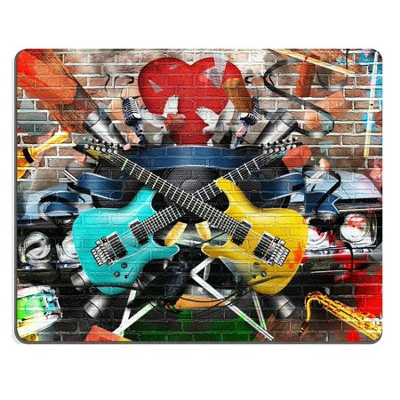 POPCreation Collage of music color and bright musical Mouse pads Gaming Mouse Pad 9.84x7.87 inches