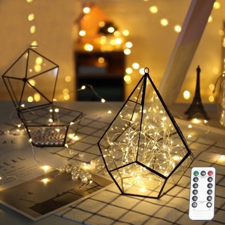 NK HOME 2 Packs 10M 100 LEDs String Light Curtain Light with Remote Control for Christmas Xmas Wedding Party Home Decoration - Warm White ()