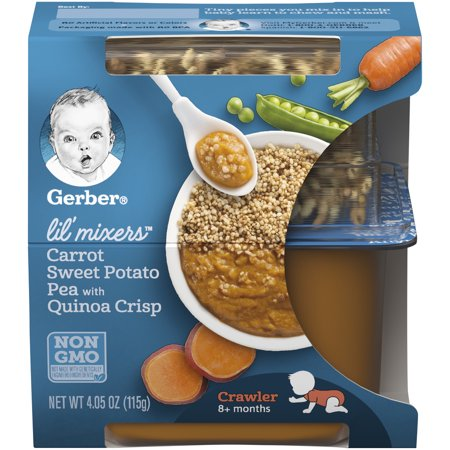 Gerber Lil' Mixers, Carrot Sweet Potato Pea with Quinoa Crisp, 4.05 oz Container (Pack of 6) - Sweet Pea Popeyes Baby