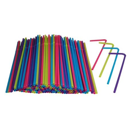 Hanamal Colored Disposable Flexible Drinking Straws (450pcs) - White Straws