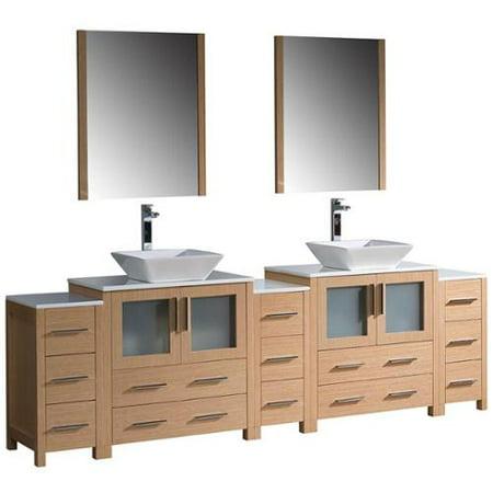 Fresca torino 96 inch light oak modern double sink for 96 bathroom cabinets