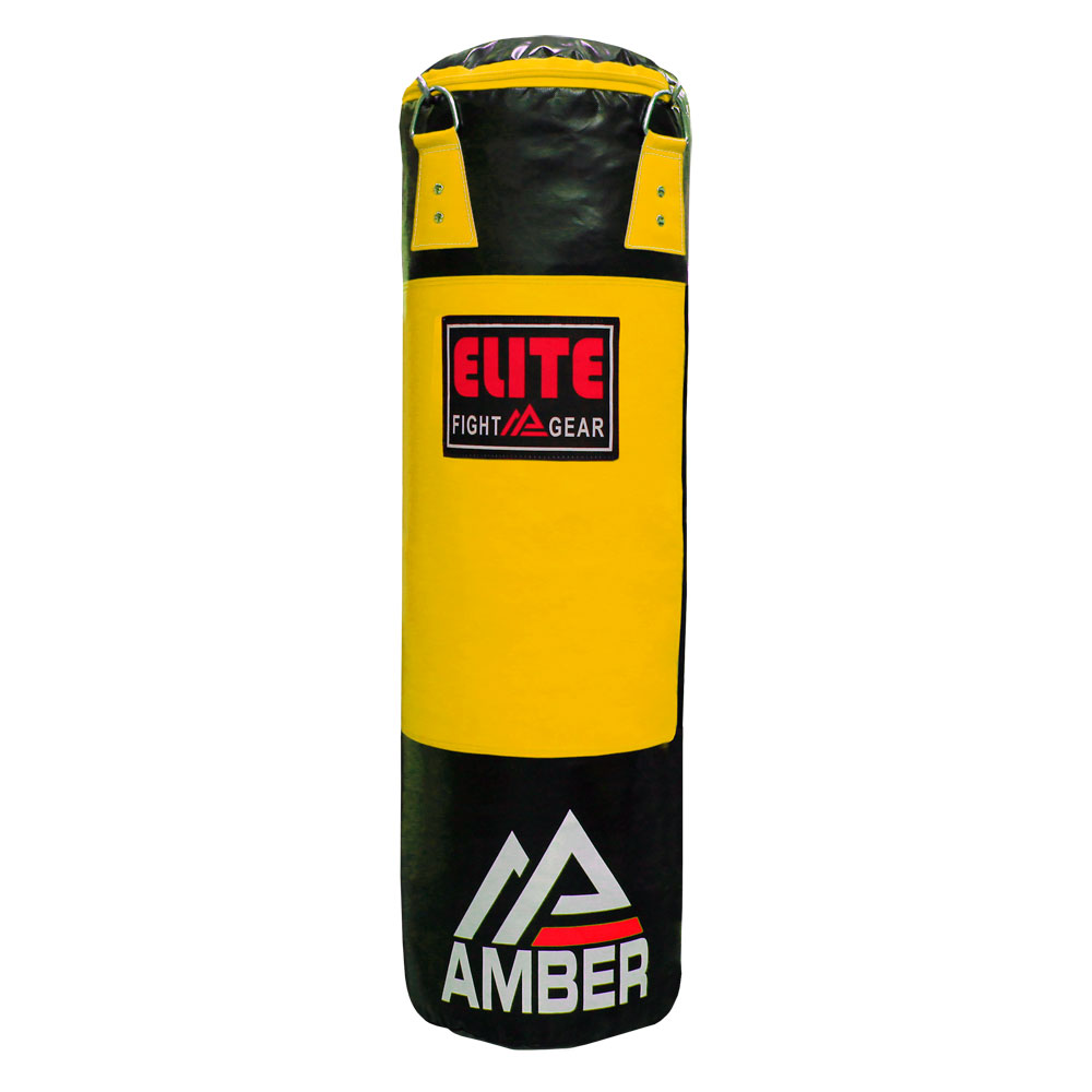 Amber Elite Heavy bag Boxing Muay Thai MMA Fitness Workout Training Kicking Punching unfilled Empty 6ft Heavy Bag, Monochrome