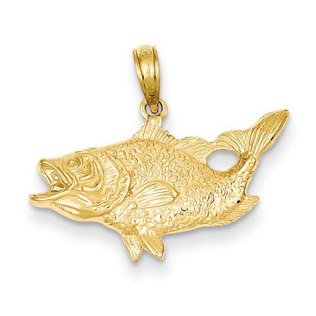 14k Yellow Gold Open Mouthed Bass Fish Pendant
