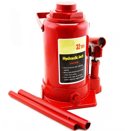 "GHP 32-Ton Capacity 6.5"" Lift Height Iron Base Hydraulic Bottle Jack with 2 Handles"