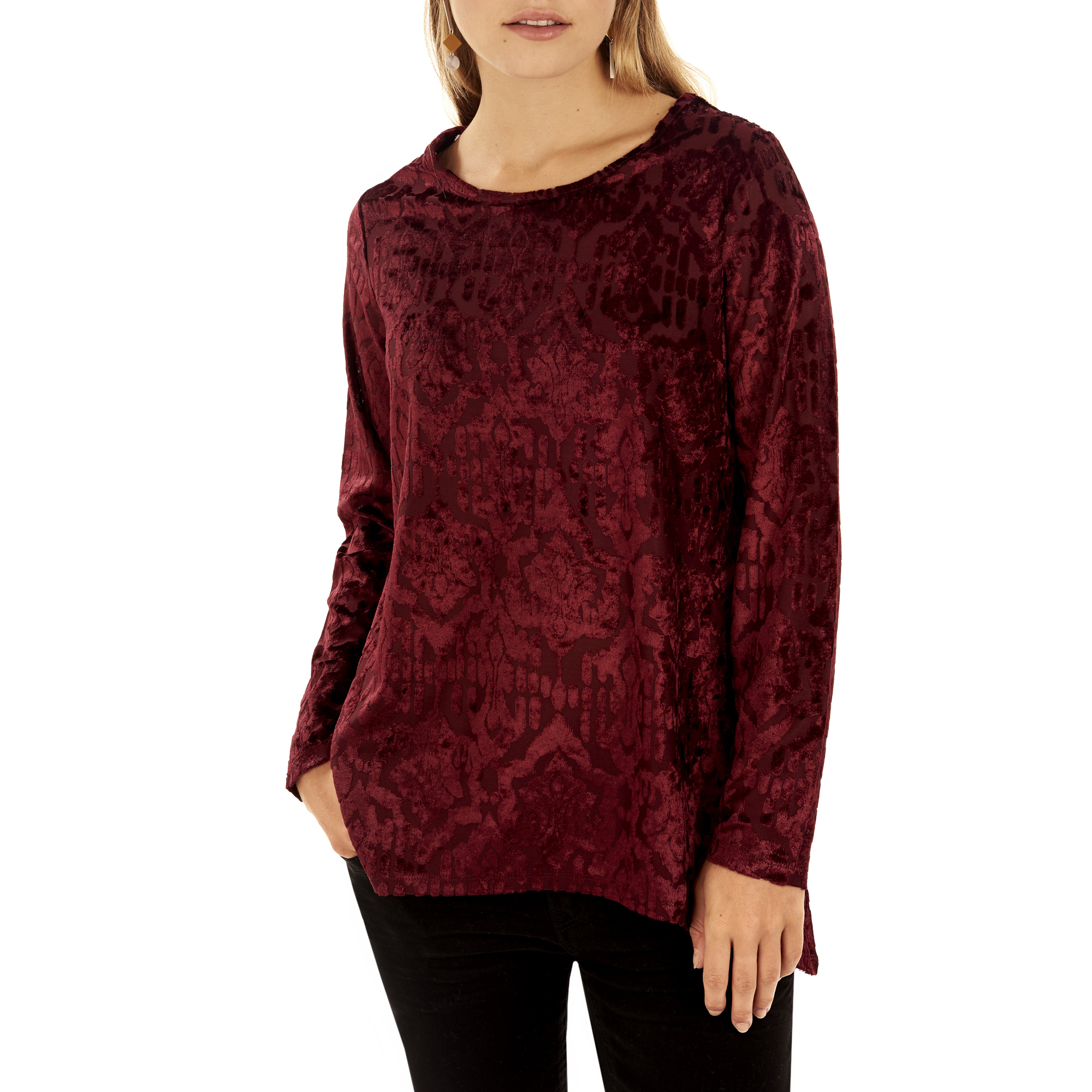 White Stag Women's Long Sleeve Scoopneck Velvet Top