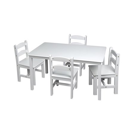 Rectangle Table Set - Gift Mark Rectangle Table and Chair Set - White