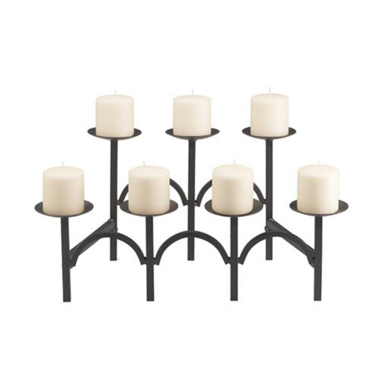 Minuteman International Two Tier 7 Candle Black Fireplace Candelabra
