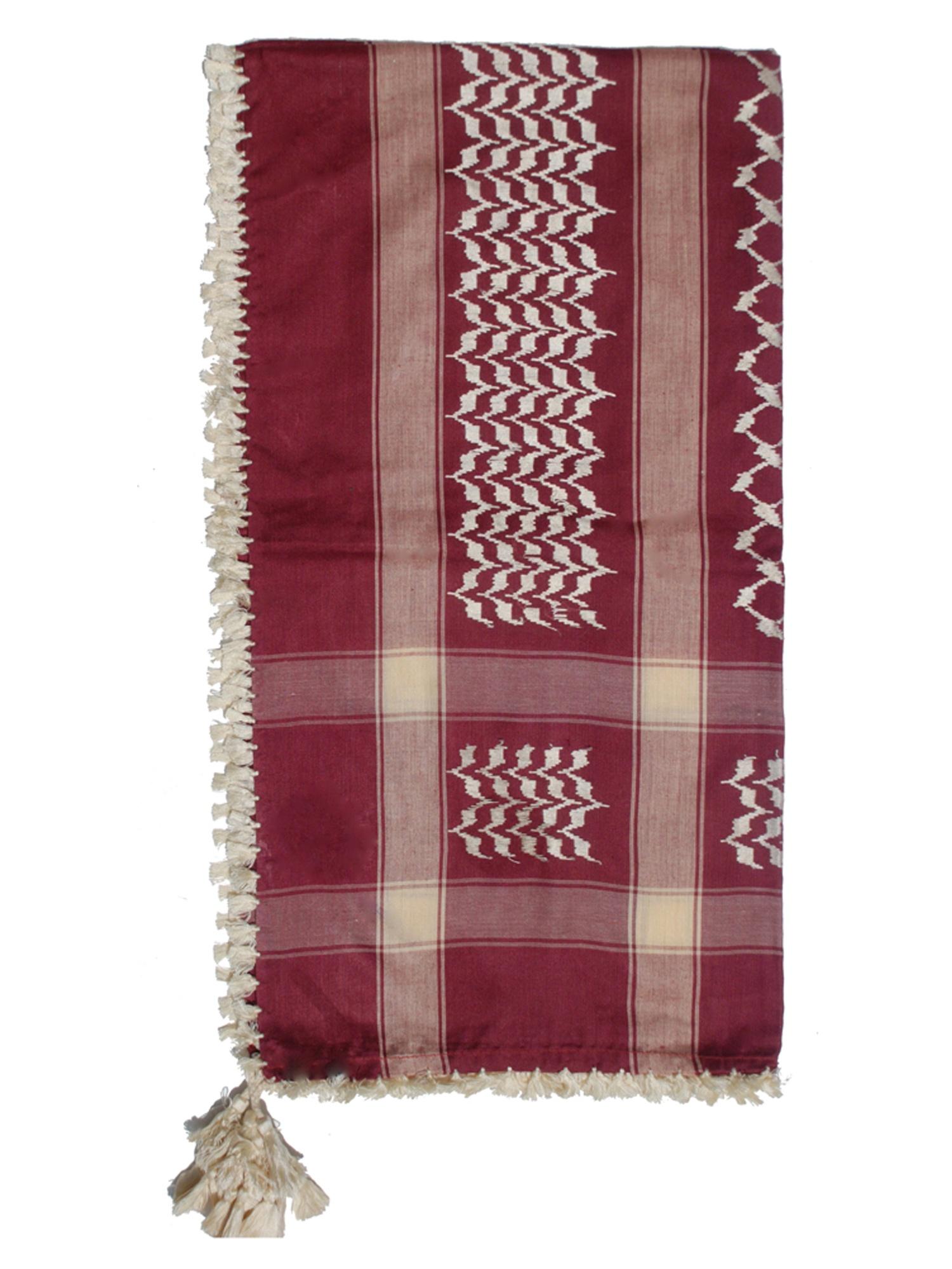 MuslimClothing® Maroon & White Keffiyeh Men's Muslim Arafat Scarf Shawl Turban Sorban Shawl Turban Sorban