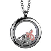 """Pink Ribbon HOPE Floating Locket Three Charm  24"""" Inch Necklace with by Jewelry Nexus"""