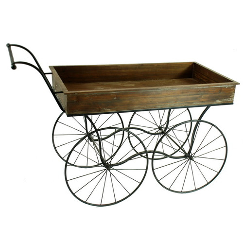 Winward Silks Rectangular Wheelbarrow Planter