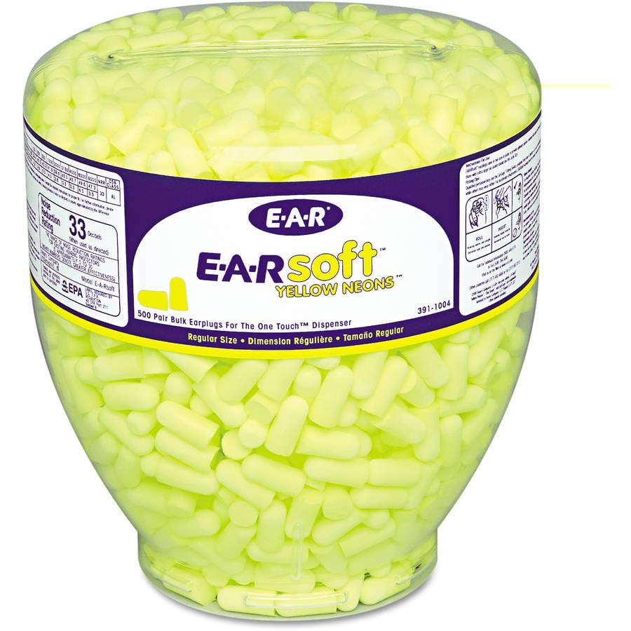 3M E-A-Rsoft Neon Tapered Earplug Refill, Cordless, Yellow