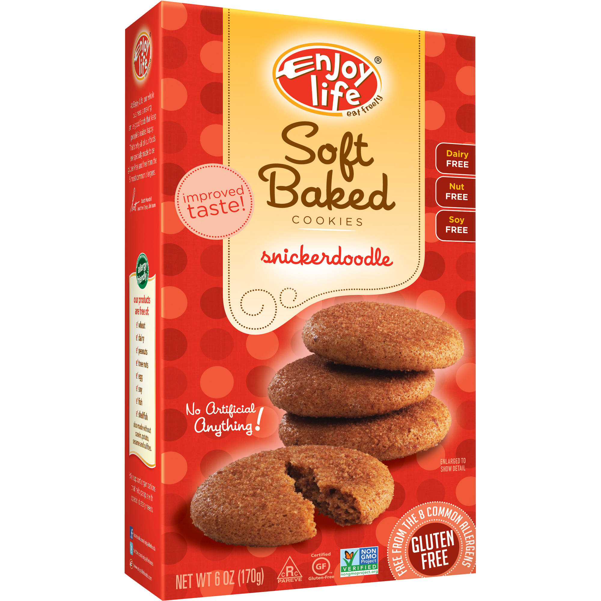 Enjoy Life Gluten-Free, Nut-Free, Vegan Snickerdoodle Soft Baked Cookies, 6 oz, (Pack of 6)