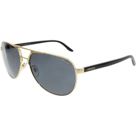 fc12c31eb118 Versace - Men s Polarized VE2142-100281-60 Gold Aviator Sunglasses -  Walmart.com