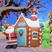 fashionlite 6 feet inflatable santa claus with christmas tree and house lighted blow up yard