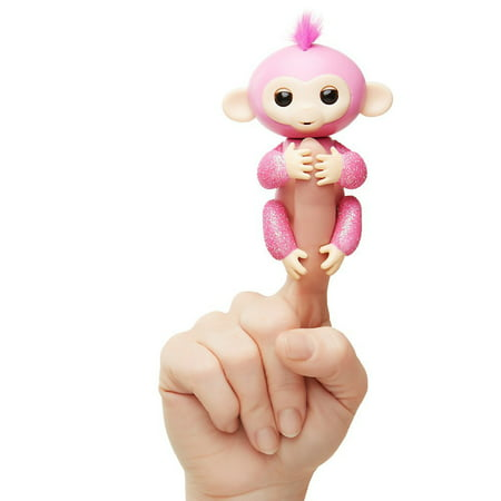 Fingerlings Glitter Monkey- Rose (Pink Glitter) - Interactive Baby Pet - By WowWee