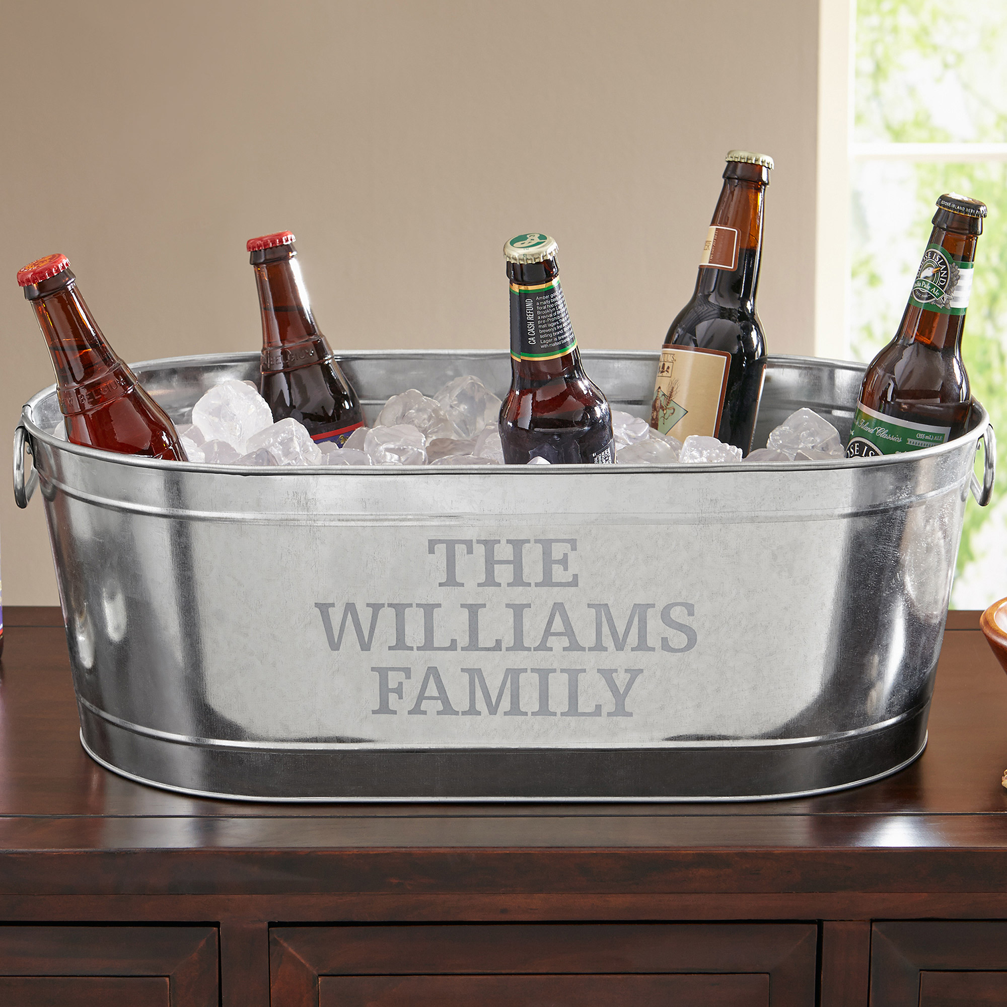 Personalized Galvanized Beverage Tub, Family Name