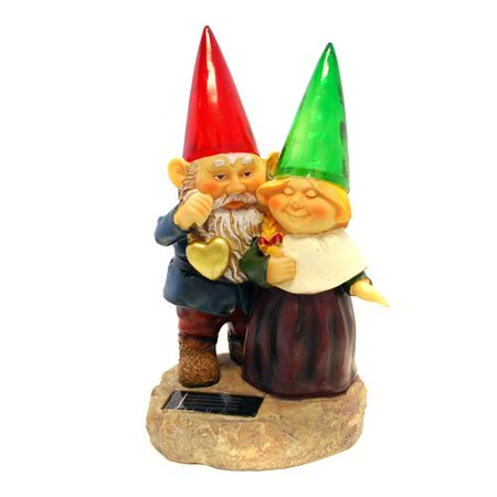 Gnomes holding hearts and flower with Solar Powered Light Garden Statue Yard Art Outdoor Patio, Energy, electrical saving, Easy to install - no wiring.., By Generic ()