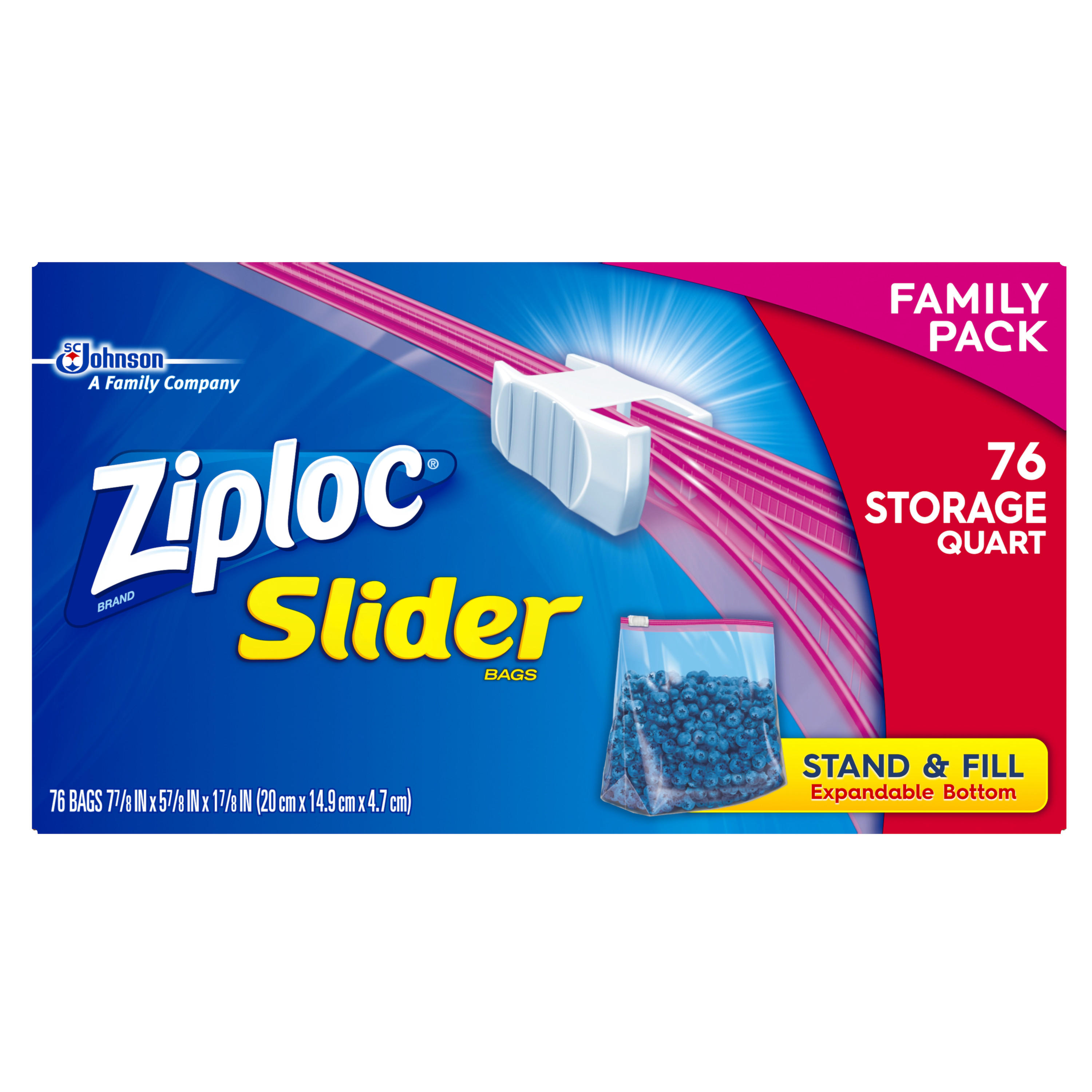 Ziploc Slider Zipper Food Storage Bags, Quart, 76 Ct
