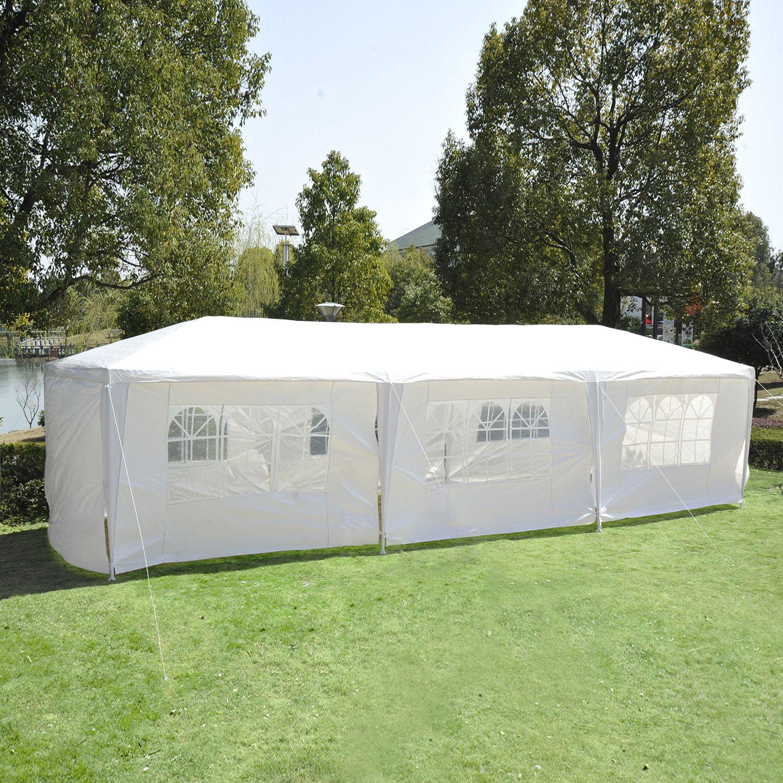 Outsunny 10' x 30' Party Gazebo Tent with 8 Walls - White