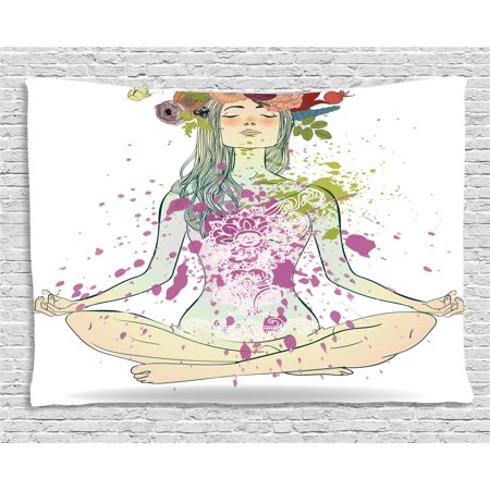 Yoga Tapestry, Girl with Floral Wreath Sitting in Lotus Pose Color Splashes Levitation Meditation, Wall Hanging for Bedroom Living Room Dorm Decor, 60W X 40L Inches, Multicolor, by Ambesonne
