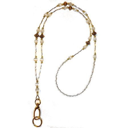 Hidden Hollow Beads GOLD Super Slim White Women's Beaded Fashion Lanyard Necklace, Jewelry ID Badge and Key Holder, 34 in. - Jewelry Lanyards