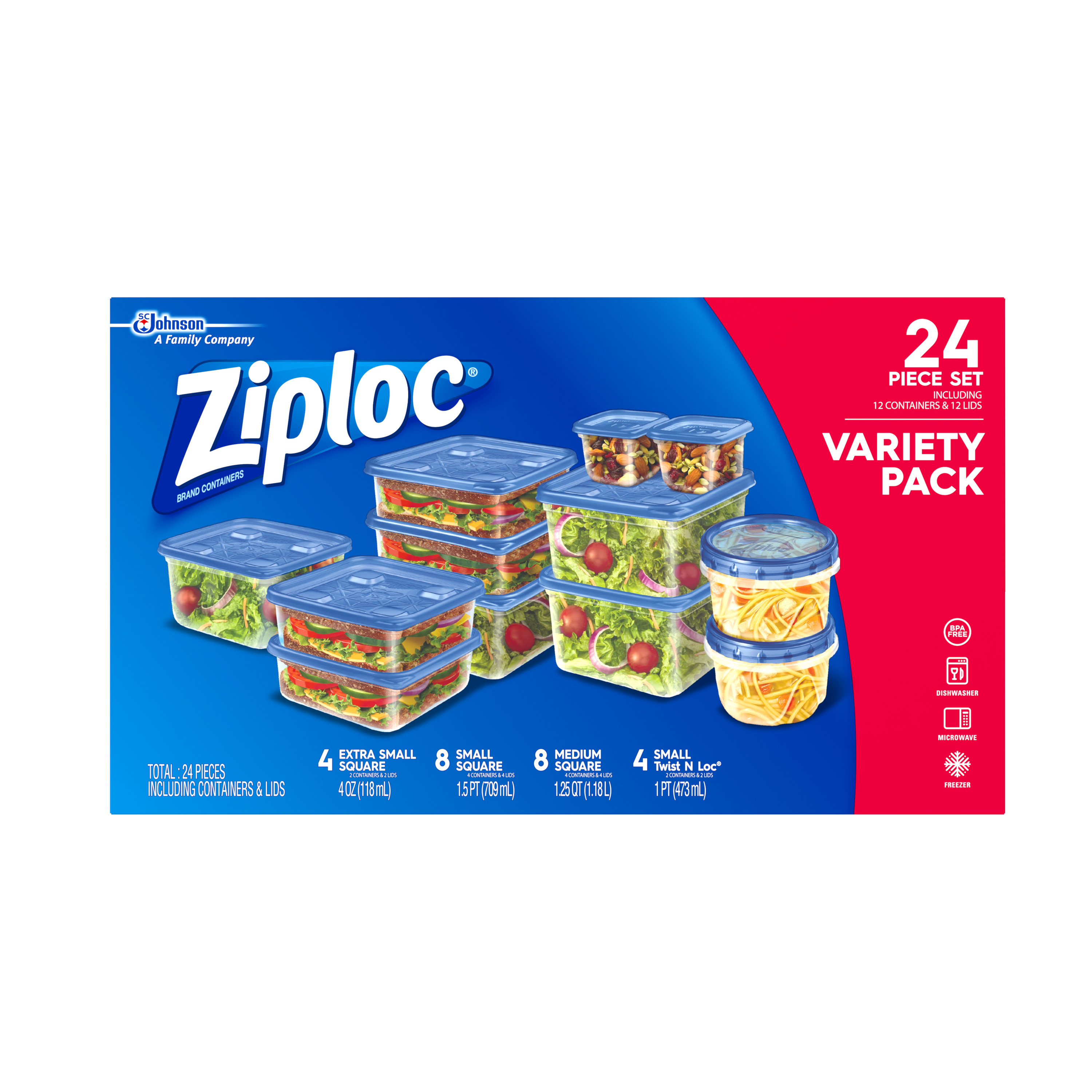Ziploc Containers Variety Pack, 24 count