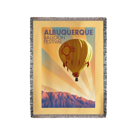 Albuquerque, New Mexico - Hot Air Balloon Festival - Lithography Style - Lantern Press Artwork (60x80 Woven Chenille Yarn Blanket) ()
