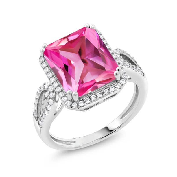 6.60 Ct Octagon Pink Created Sapphire 925 Sterling Silver Ring
