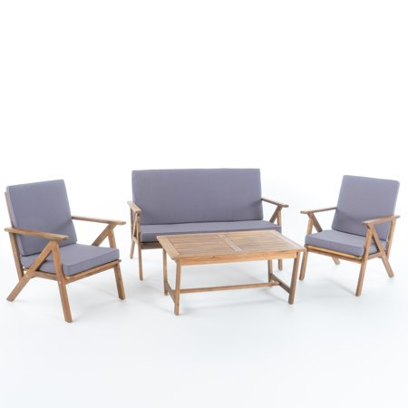 Manarola Outdoor 4-Piece Acacia Wood Chat Set w/ Water Resistant Cushions, Teak Finish/ Grey