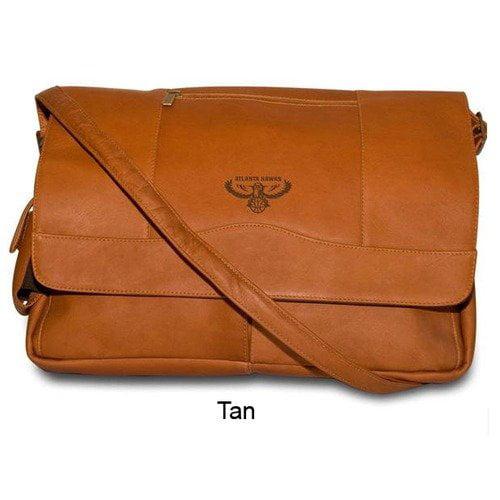Pangea Tan Leather Laptop Messenger Bag - Milwaukee Bucks Milwaukee Bucks PANGBKTMILMBT