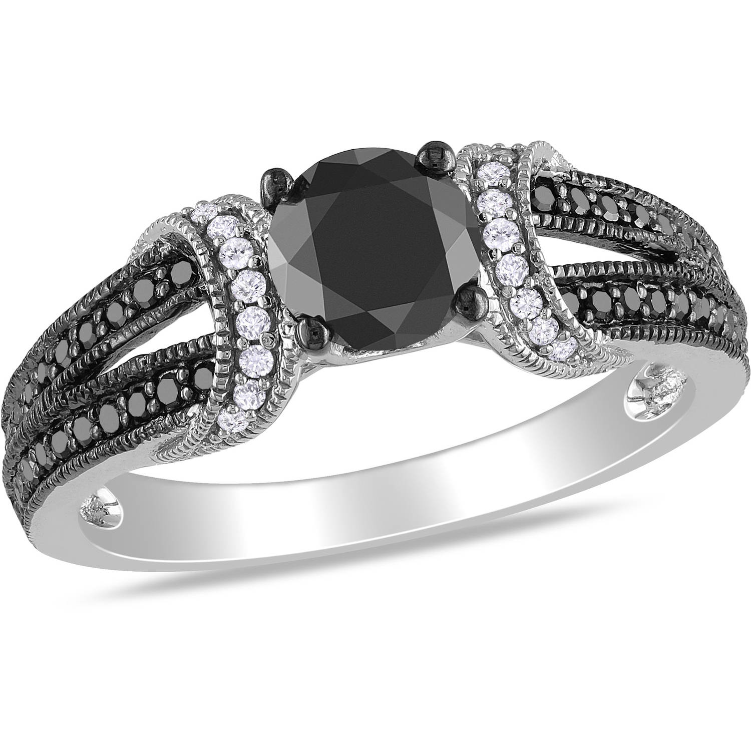 1 Carat T.W. Black and White Diamond Fashion Ring in Sterling Silver (5.5mm and 0.9mm)