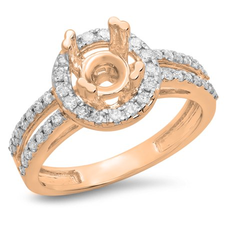 0.50 Carat (ctw) 14K Rose Gold Round White Diamond Ladies Split Shank Bridal Semi Mount Engagement Ring 1/2 CT (No Cente
