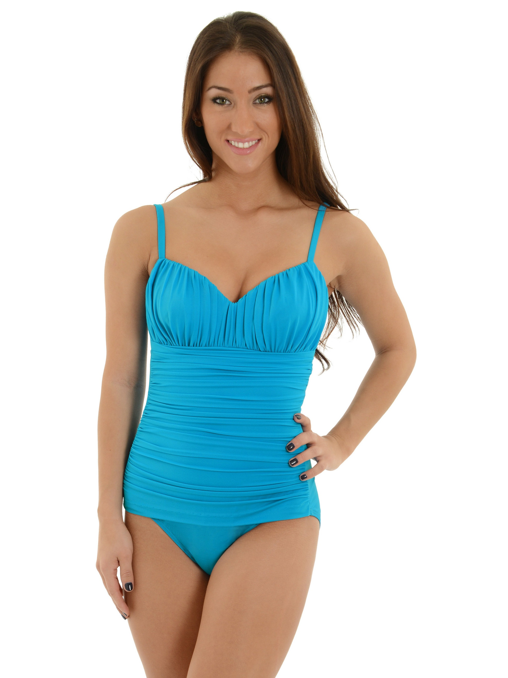 Miraclesuit Womens Slimming Turquoise Blue Bathing Suit Sweetheart ...