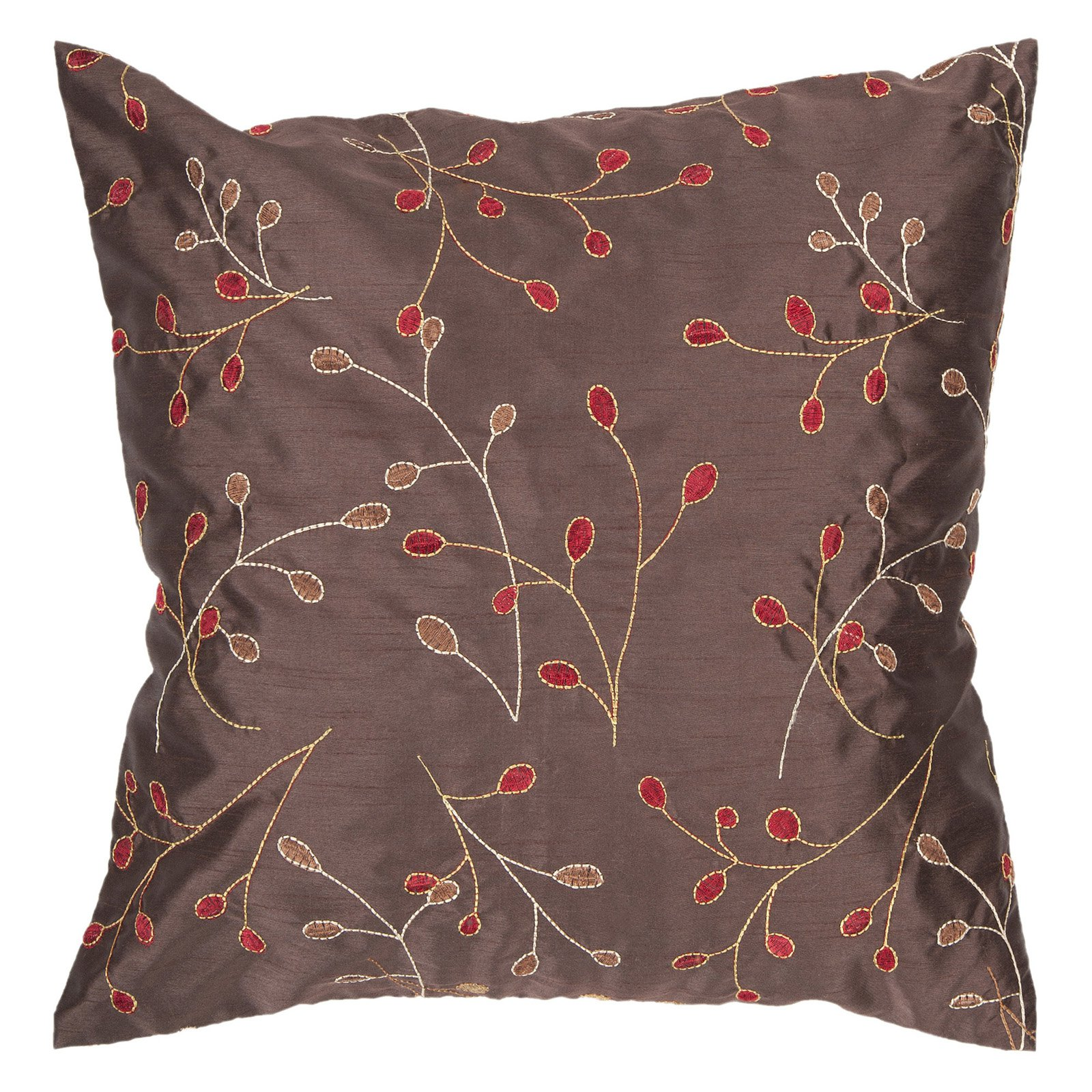 Surya China Vine Decorative Pillow - Chocolate