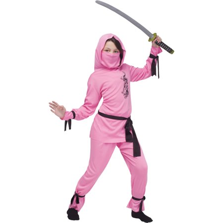 Morris Costumes Childrens Girls Ninja Complete Outfit Pink 4-6, Style FW8708PKSM - Ninja Outfit Name