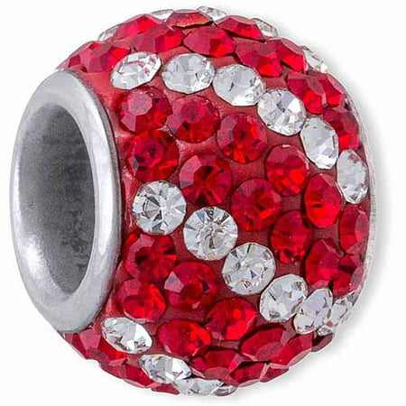 Stainless Steel Clear and Red Crystal Charm