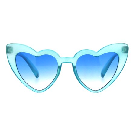 Girls Kid Size Pimp Daddy Color Lens Heart Shape Cat Eye Sunglasses Blue