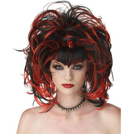 Wig Evil Sorceress Black Red - Evil Sorceress
