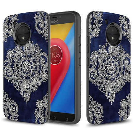 Moto E4 Case, TownShop Moroccan Floral Design Hard Rubber Impact Dual Layer Shockproof Silicone Bumper Case for Motorola Moto E4/ Motorola Moto E (4th Gen.)
