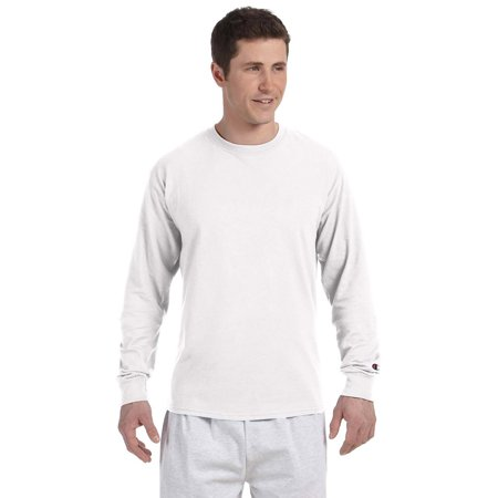 Champion Adult Long Sleeve Taped Crewneck Fitted T-Shirt - White - Small