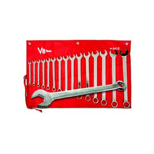 V8 Tools 9415 15-Piece Long Pattern SAE Combo Wrench Set