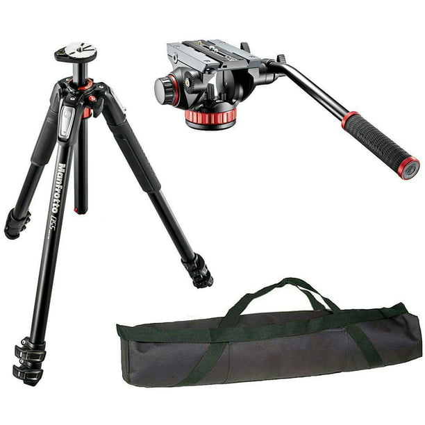 Manfrotto Mt055xpro3 3 Section Aluminium Tripod With Mvh502ah Professional Fluid Video Head And A 35 Padded Case Walmart Com Walmart Com