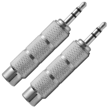 "Seismic Audio 2 Pack pf 1/4"" Female to 1/8"" Male Adapter (Silver) Converter for iPod, iPhone Silver - SAPT123-2Pack"