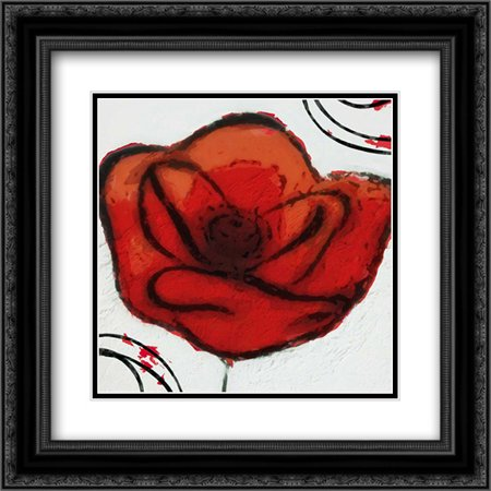 Contempo Poppy 2 2x Matted 20x20 Black Ornate Framed Art Print by Greene, Taylor