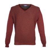 Pal Zileri Men's Wool Dot Knit V-Neck Sweater IT 50 Burgundy