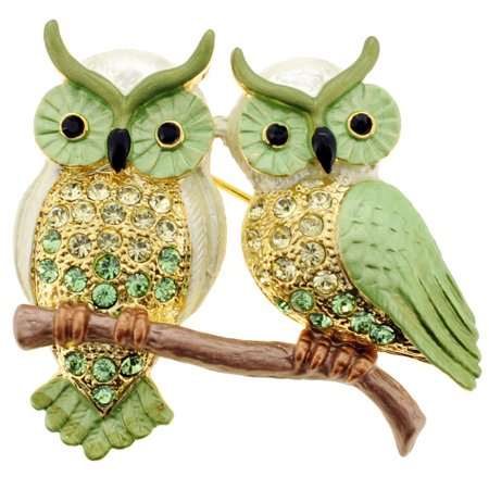 Swarovski Crystal Heart Brooch - Green Couple Owl Swarovski Crystal Pin Brooch