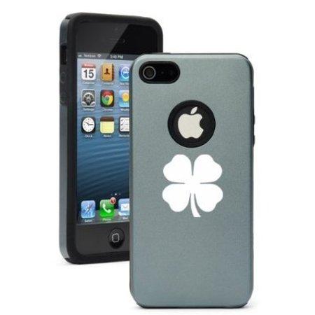 Apple iPhone 6 Plus / 6s Plus Shockproof AS Aluminum & Silicone Hard Soft Case Cover 4 Leaf Clover Shamrock (Silver - 4 Leaf Clover For Sale