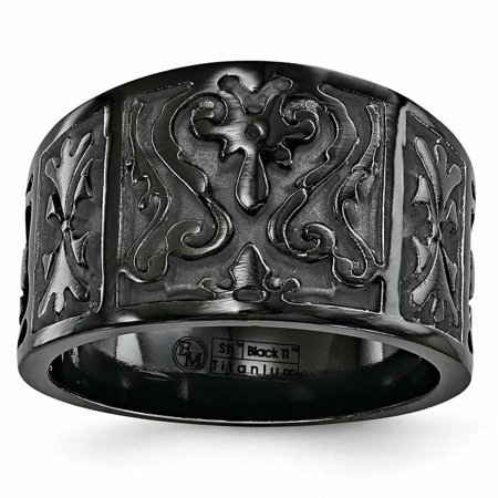 Edward Mirell Black Ti Flat Casted Design 14mm Ring Size 10.5 - image 4 de 4