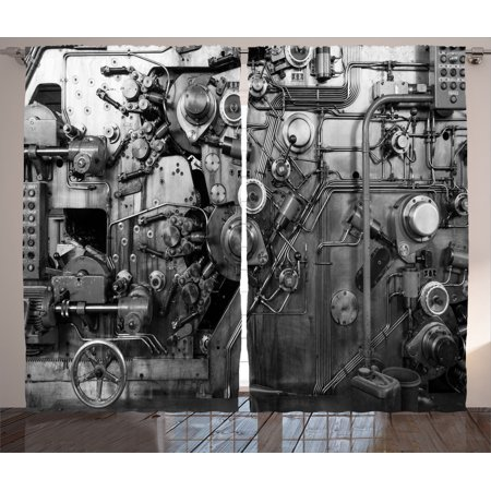 Industrial Decor Curtains 2 Panels Set, Modern Times Detail Of Rusted Machine In Factory Physical Equipment And Process, Living Room Bedroom Accessories, By Ambesonne ()