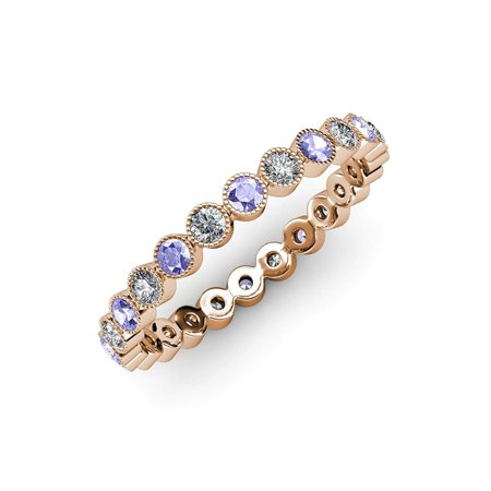 Tanzanite & Diamond Bezel Set Milgrain Eternity Band 0.51ct tw to 0.60ct tw 18K Rose Gold.size 7.0